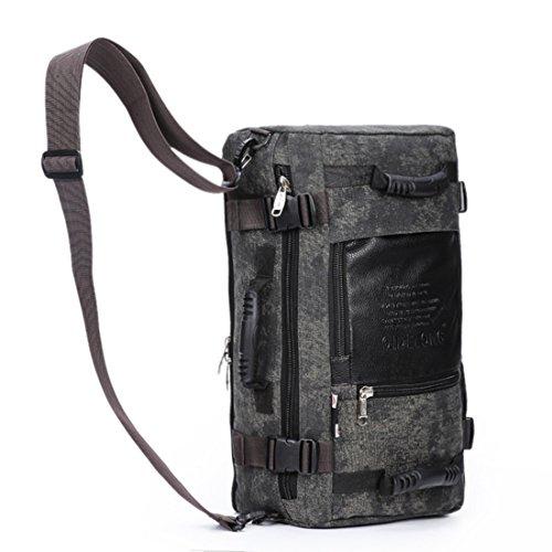 Multifunktionale Leinwand Klettern Tasche Doppelter Schultergurt Tasche Outdoor Travel Big Rucksack Computer Pack groß Kapazität Pack dark color