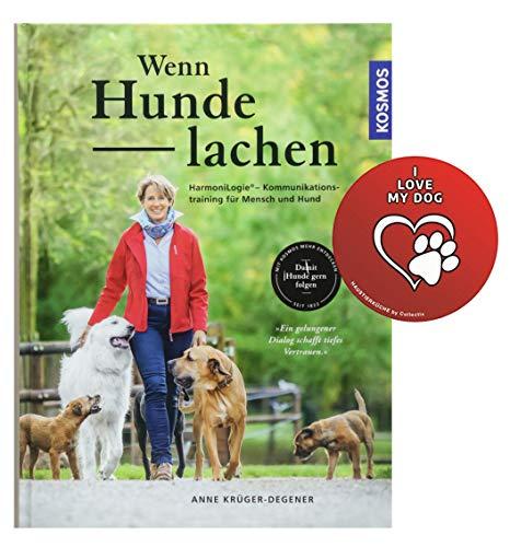 Kosmos Wenn Hunde lachen: HarmoniLogie® - Kommunikationstraining für Mensch und Hund Gebundenes Buch + I Love My Dog Sticker by Collectix -