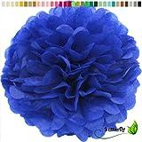 10 Papier Pompons 35cm NEU ( blau 352 / königsblau / royalblau ) // PomPoms Bommel Kugel Seidenpapier Pom Pom Deko Hängedeko Raumdeko Blumen Pompon
