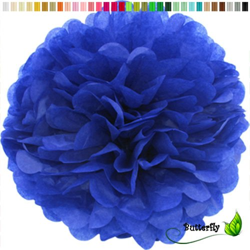 cm NEU ( blau 352 / königsblau / royalblau ) // PomPoms Bommel Kugel Seidenpapier Pom Pom Deko Hängedeko Raumdeko Blumen Pompon ()