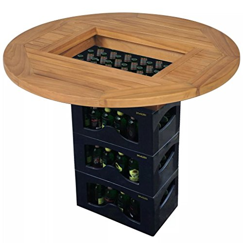 Festnight Biertisch Bartheke Party-Gartentisch Teak 70 cm