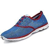 SAGUARO Hommes Chaussure d'eau Mesh Respirante Slip-on Séchage Rapide Aqua Eau Chaussures,Dentelle Bleu 39