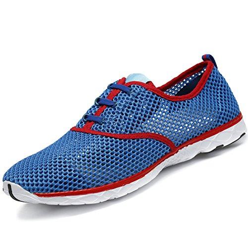 SAGUARO Badeschuhe Wasserschuhe Atmungsaktives Mesh-oberfläche Lace Up Schuhe Schnell Trocknender Aquaschuhe für Damen Herren, Rot Blau 44