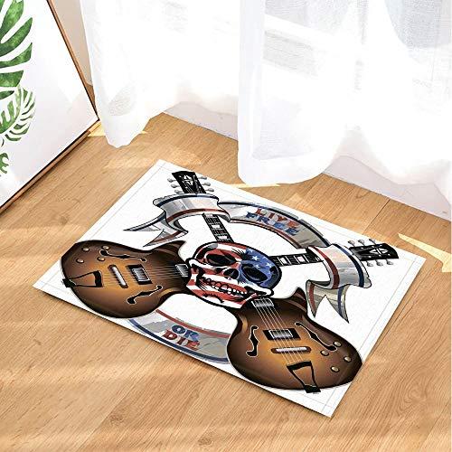 JHTRSJYTJ Amerikanischen Schädel Stars and Stripes Flagge Gitarre Leben oder Form Rutsch Fußmatte Badmatte 15.7x23.6in (Gitarre Flagge)