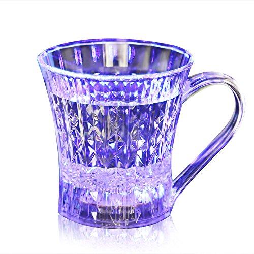 Bicchiere a Induzione, Yokkao® Bicchiere con Luce LED Blu Giallo Viola Rossa a Induzione Liquida per Acqua Vino Birra con Luce Arcobaleno