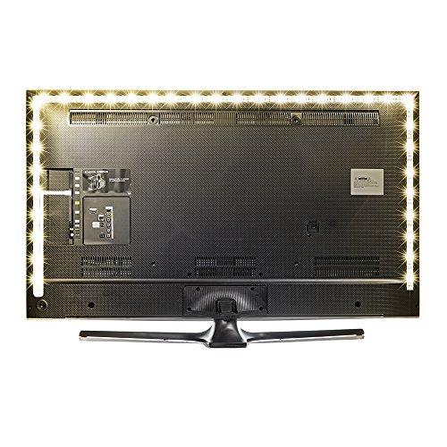 Kreema 118inches bias retroilluminazione usb reversibile, kit striscia di retroilluminazione tv bianco caldo, illuminazione di sfondo ambientale per tv pc monitor