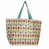 LS Design XL Öko Jumbo Shpper Einkaufstasche recycled Strandtasche Schultertasche Blume 60x20x37cm