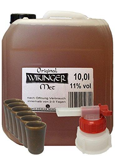 Wikinger Met 10 Liter Kanister + Mini-Tonbecher 6er Set + Ausgießer