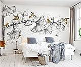 Wxlsl Benutzerdefinierte Wandtapete Wohnzimmer Schlafzimmer Wandbilder Schwarz-Weiß-Skizze Ginkgo Blätter 3D Tapete Fliegenden Vögel-150cmx105cm