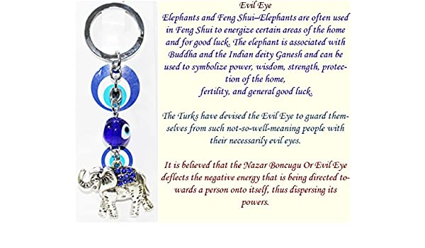 FCS Elephant Key Ring with Turkish Evil Eye to Protect