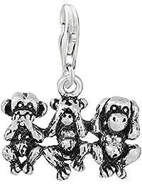 Sexy Sparkles Mujer Speak No Evil Ver oír monos Clip en colgante para pulsera o collar