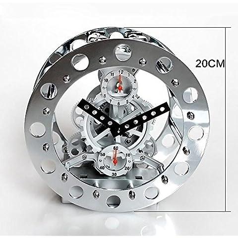 KHSKX Reloj esqueleto metal gear genuino creativo reloj despertador de campana el reloj de la sala de estar metal skeleton silver