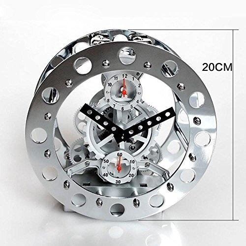 KHSKX Echte Getriebe Metall Skelett Uhr kreative Uhr Glocke Wecker die Wohnzimmer-Uhr metal skeleton (Zone Metal Kostüm)
