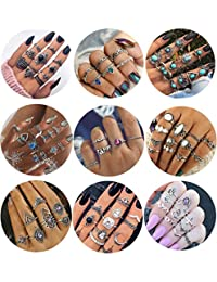 Milacolato 84 Pieces Midi Ring Bohemian Knuckle Ring Sets Fashion Finger Vintage Silver Stackable Rings for Women Girls Knuckle Midi Rings