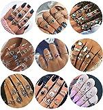 Milacolato 84 Unids Midi Anillo Bohemio Knuckle Ring Sets Moda Dedo Anillos Apilables de Plata Vintage para Mujeres Niñas Knuckle Midi Anillos