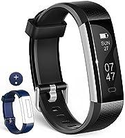 Wesoo Fitness Tracker, K1 Fitness Armbänder mit Ersatzband, Schrittzähler Armband mit Schlafmonitor Kalorienzähler Wecker Anruf SMS Whatsapp Beachten für iOS Android Smartphone (Schwarz/Blau Bänder)