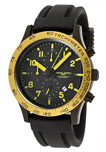Jorg Gray Men's Quartz Chronograph Watch JG1900-11 With Rubber Strap and Black Dial