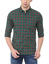 Louis Philippe Men's Checkered Slim Fit Casual Shirt
