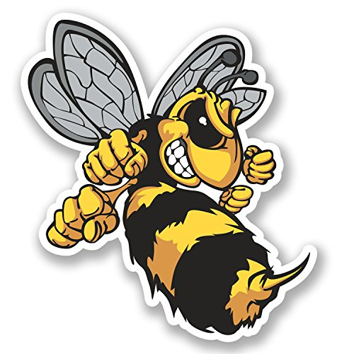 2-x-wasp-bee-hornet-vinyl-sticker-ipad-laptop-helmet-car-bike-gift-yellow-4637-9cm-wide-x-10cm-tall
