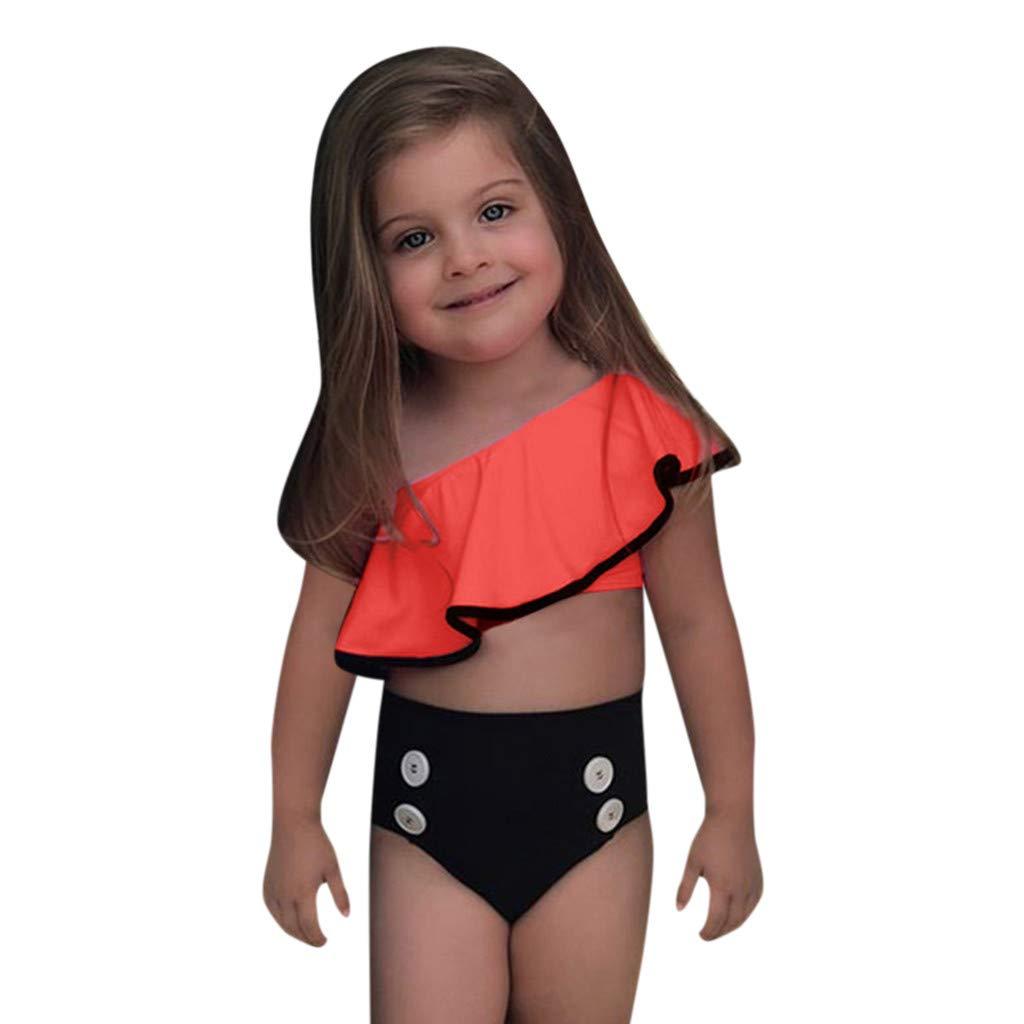 FRAUIT Costumi da Bagno Bambina Due Pezzi Bikini Monospalla Bambina Costume da Bagno Bimba Mare E Piscina Trikini Donna Mare Costume Calzedonia Costume Neonata