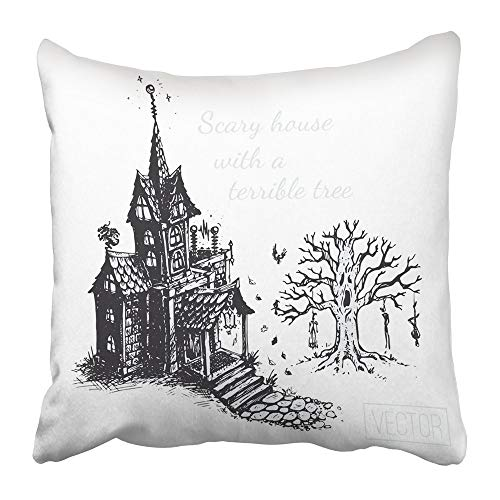 Throw Pillow Covers Print Black Autumn The Old Scary House and Tree Sketch Drawn with Ink Vintage Design for Halloween Gray Polyester 18 X 18 Inch Square Hidden Zipper Decorative Pillowcase