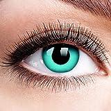 Farbige Kontaktlinsen mit Stärke Sky Blue Blau Motiv-Linsen Halloween Karneval Fasching Cosplay Anime Manga Blaue Augen Farbig Eye Devil Eis Hexe Engel Elfe - 2 dpt