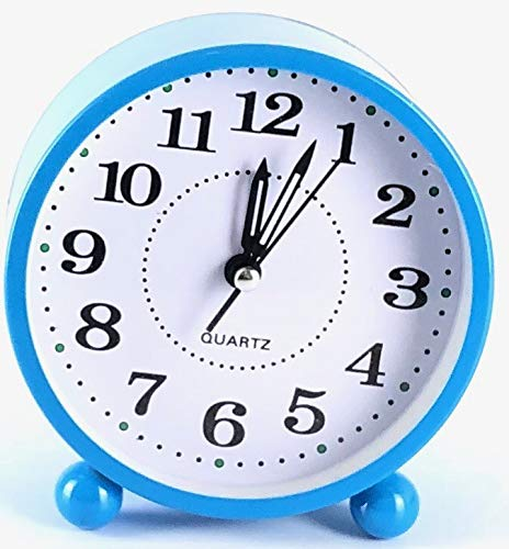 Eqons Classic Round Desk Alarm Clock Quiet Quartz Movement (Blue) (Blue) (Classic Desk Clock)