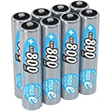 ANSMANN Micro AAA Akku 1.2V 800 mAh - NiMH Akku Batterien AAA mit max für Geräte mit hohem Stromverbrauch - ideal für DECT Telefon Phone Kamera Solarlampe Taschenlampe & Stirnlampe - 8 Stück