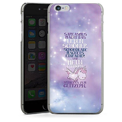 Apple iPhone 6 Plus Silikon Hülle Case Schutzhülle Einhorn Unicorn Sprüche Hard Case anthrazit-klar