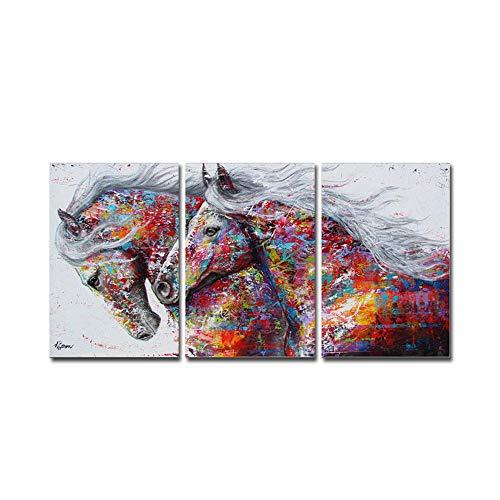Hianiquaime trittico astratto stampa artistica su tela montato su telaio in legno 40x60cmx3 immagine cavallo pittura a olio decorativa wall art per decor casa ufficio regalo pronto da appendere