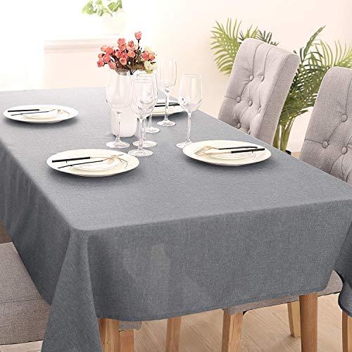 Deconovo Tischdecke Wasserabweisend Leinenoptik Tischtuch Lotuseffekt 130x220 cm Grau