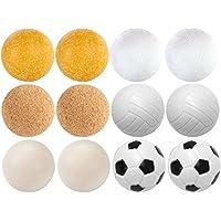 Maxstore 12 Stück Kicker Bälle Mischung, 6 unterschiedliche Sorten (2x Kork, 4x PE, 2x PU, 4x ABS), Durchmesser 35mm, Tischfussball Kickerbälle, Ball