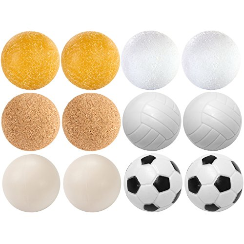 12 Stück Kicker Bälle Mischung, 6 verschiedene Sorten (2x Kork, 4x PE, 2x PU, 4x ABS), Durchmesser 35mm, Tischfussball Kickerbälle, Ball