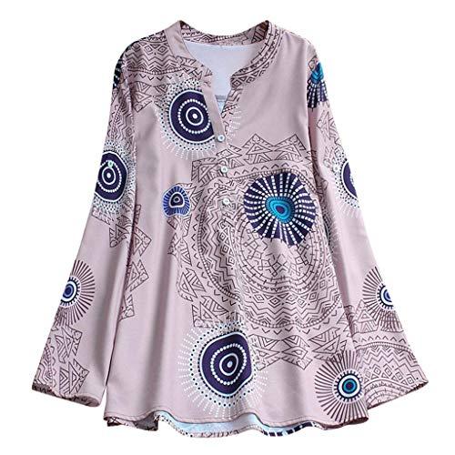 Dragon868 Herbst Elegante Damen Plus Größe Dot Print Lose Baumwolle Leinen Casual Täglichen Party Strandurlaub Shirt Vintage Blus -