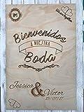 CREATIVA DIGITAL IMPRESION Y DISEÑO Panel DE Madera - Grabado con Láser Boda - Cartel Boda-