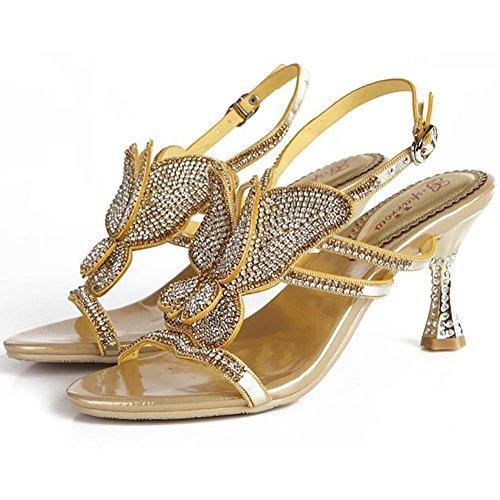 SYYAN Damen Leder Strasssteine Schmetterling Hohl Offener Zeh Pure Handmade Pumpe Kleid Sandalen Gold Gold