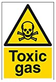 vsafety Schilder 6a016au-r giftigen Gas Achtung Substanz und chemische Zeichen, 1mm starrer Kunststoff, Portrait, 200mm x 300mm, schwarz/gelb