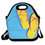 DRVLTY Lunch Boxes It's Summer Time for The Flip Flops Lunch Tote-Personalized Lunch Bags