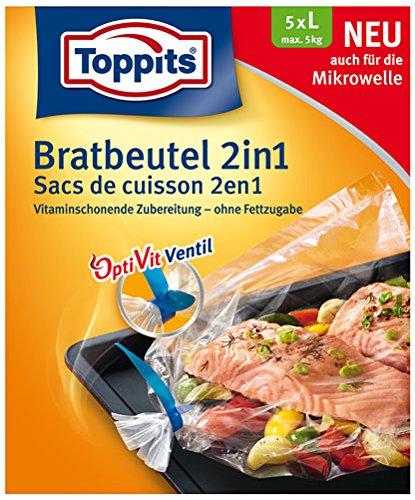 207999 Toppits Bratbeutel 2 in 1, Braten und Dampfgaren, Inhalt 5 Stk, Größe L bis zu max. 5,0kg