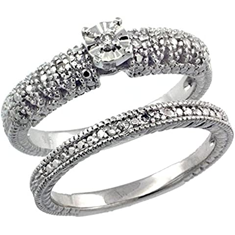 Revoni-Collana in argento Sterling stile Vintage, 2-Pc. 9-Anello di fidanzamento, pietra, Set w/.097 kt con diamanti taglio brillante, misure disponibili da J a
