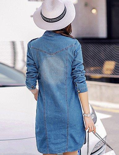 PU&PU Robe Aux femmes Denim Simple / Mignon,Couleur Pleine Col Ras du Cou Au dessus du genou Coton / Polyester DARKBLUE-S