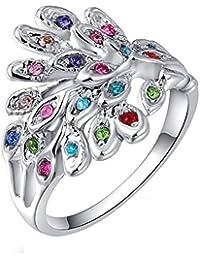 joyliveCY 2018la moda mujer elegante Platinum pavo real blanco diamante anillo Reino Unido tamaño Q