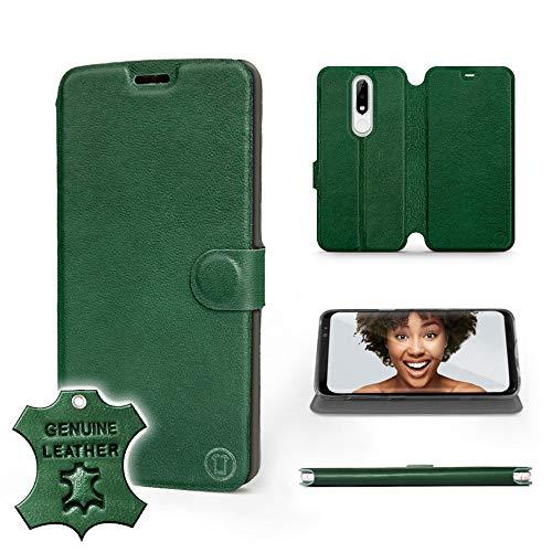 MOBIWEAR   Echt Lederhülle   Kompatibel mit Nokia 5.1 Plus, Made in EU handyhülle, Slim Leather Case, Premium Flip Schutzhülle, Transparent TPU Silicon, Book Style, Tasche - Grünes Leder