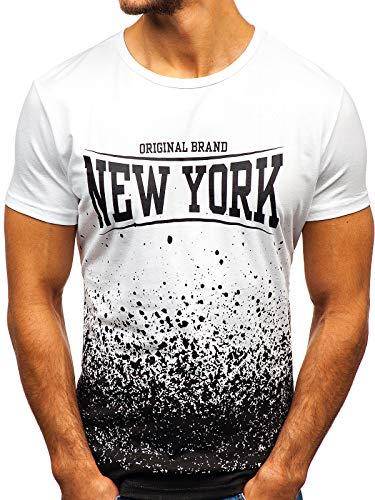 BOLF Herren T-Shirt mit Rundhalsausschnitt Print Aufdruck Täglicher Stil J.Style KY07 Weiß S [3C3] | 05902646979342
