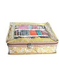 Prem Industries 3 Roll Golden Brocade Bangle Box,Bangle Case & Kit Organizer With Special Quality & Hard Board...