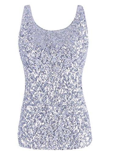 Kayamiya Damen 1920er Jahre Glitter Pailletten Weste Tank Tops L Silber (Perlen Tank-top Shirt)