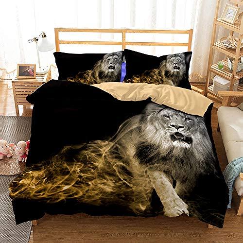 HIMFL Bettbezug-Set 3D Print Lion Muster Mikrofaser 3 Stück Bettwäsche Set mit Reißverschluss(1 Bettbezug, 2 Kopfkissenbezüge),UKDouble - Lion Bettbezug