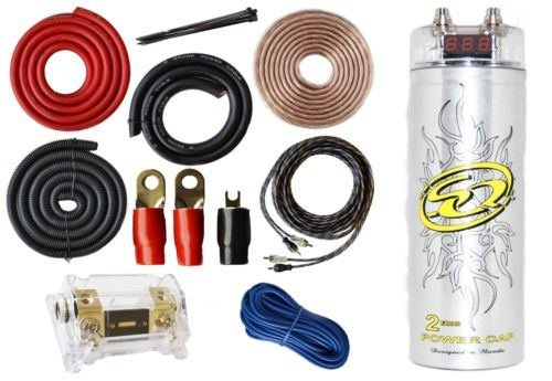0 Gauge Amp Kit Amplifier Install Wiring & 2 Farad Digital Capacitor, 5500W  Peak