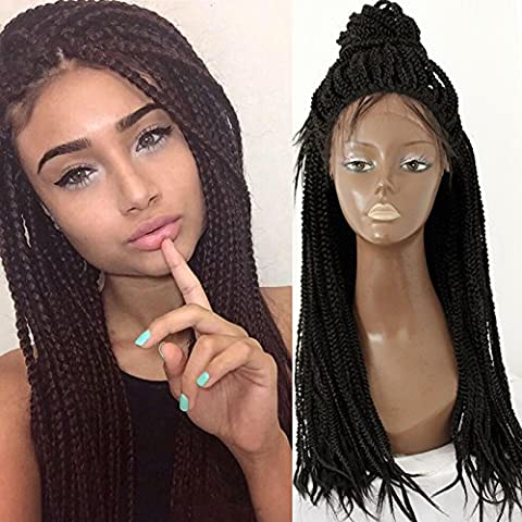 PlatinumHair Black Handmade Collection Braids Synthetic Lace Front Wig Heat Resistant Glueless for Women Synthetic Wig 24
