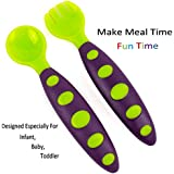 Baby Spoon And Fork - Baby Toddler Utensils With Bonus Travel Carrying Case - Travel Safe Toddler Training Spoons - Perfect Size Toddler Forks - Perfect Self Feeding Spoon - Best Baby Feeding Utensils By KARP (Green)
